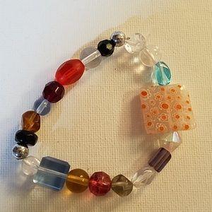Handmade Bead Stretch Bracelet 8""